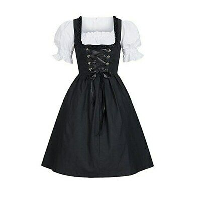 Women Traditional German Dirndl Dress Oktoberfest Beer Costume Bavarian Dress AU