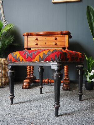 Antique 19th Century Ebonised Stool Kilim Rug Upholstery UK DELIVERY AVAILABLE