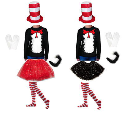 Dr Seuss Cat in the Hat Costume Top Hat Tutu Sparkle Socks Bow Tie Top Book week