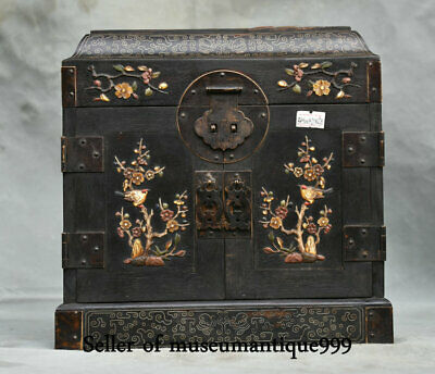 """9.6"""" Old China Wood Inlay Shell Dynasty Flower Bird drawer jewelry Box cabinet"""