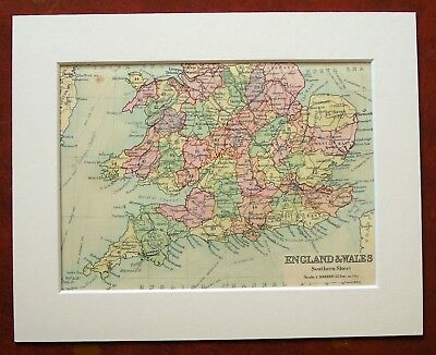 Southern England & Wales - Antique c.1900 Mounted Colour Map