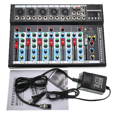 7 Channel bluetooth Studio Stereo Audio Mixer Mixing USB Console Live KTV 48V