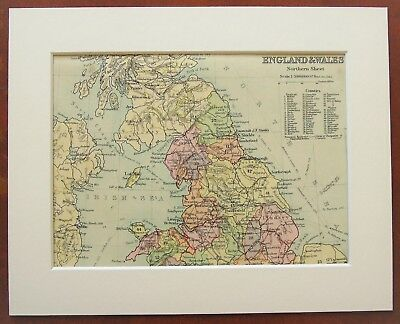 Northern England & Wales - Antique c.1900 Mounted Colour Map