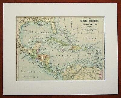 West Indies, Central America, Caribbean - Antique c.1900 Mounted Colour Map
