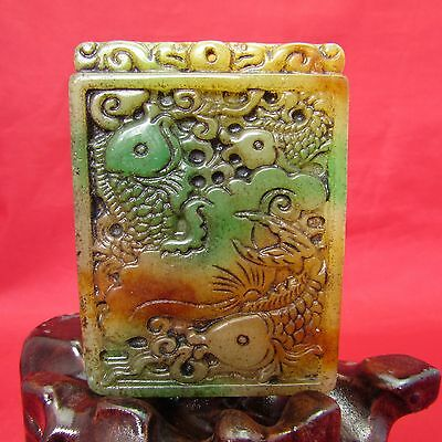 Chinese Jade Hand Carved Three fish runes jade Amulet Pendant A144