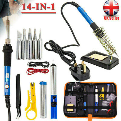 UK Soldering Iron Kit Electronics Welding Irons Tool Adjustable Temperature 60W