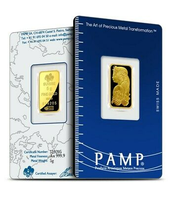 PAMP Suisse Lady Fortuna 5gram gold bullion.