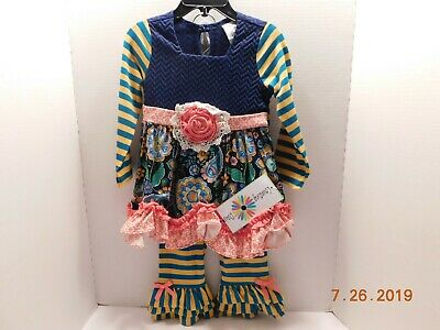 NEW COUNTING DAISIES 4 TODDLER GIRLS 2 PC COLORFUL DRESS AND PANTS SET $55