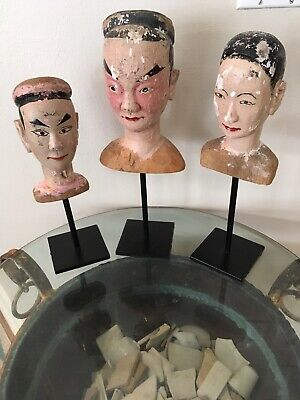 BURMESE ANTIQUE CARVED WOOD 19TH CENTURY PUPPET MARIONETTE HEADS Set Of 3 Rare!