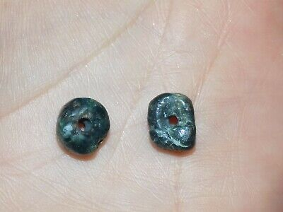 Pre-Columbian Blue Jade Nugget Beads, Set of 2, Authentic, Costa Rica Blue Jade