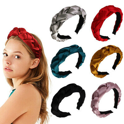 Women Satin Hair Headband Solid Color Braid Hairband Twisted Wide Hair Hoop New