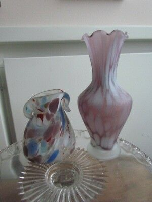 Vintage Venetian Murano Italian Art Glass Vases hand Blown Lot Frosted Amethist