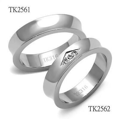 Mens Womens Couple Wedding Band Ring Set Stainless Steel Tusk 316L No Tarnish