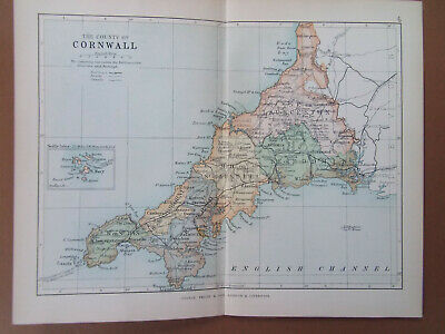 CORNWALL + RAILWAYS ANTIQUE BARTHOLOMEWS  MAP DATED 1890 7inx 9in
