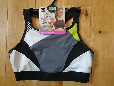 Bnwt Ladies M&S Lingerie Range Non Wired Extra High Impact Sports Bra Size 34D