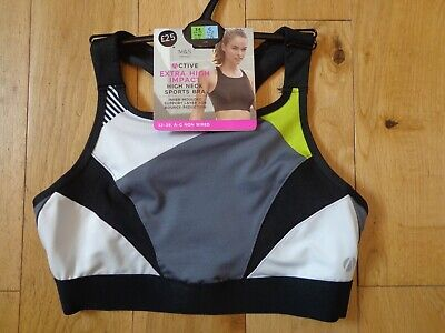 Bnwt Ladies M&S Lingerie Range Non Wired Extra High Impact Sports Bra Size 34C