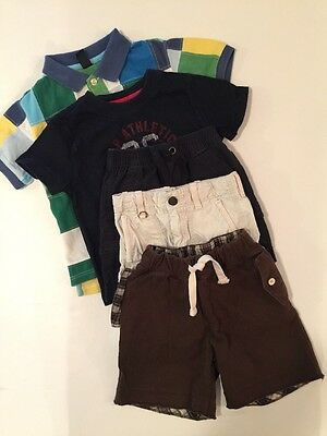 LOT Baby Boy's GAP~ Blue Brown SHORTS & Patchwork Plaid SHIRTS 18 24 2 2T