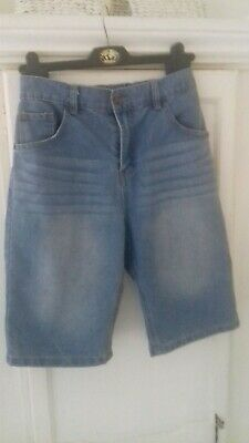 Boys F&F Blue Denim Shorts..Adjustable Waist..13-14.Worn Once.VGC