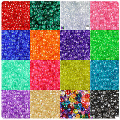 100x Transparent 9x6mm Barrel Plastic Pony Beads - Made in the USA: Color choice
