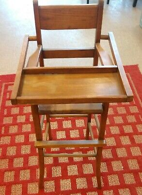 ANTIQUE WOOD CHILD'S HIGH CHAIR handmade, foot rest, excellent condition