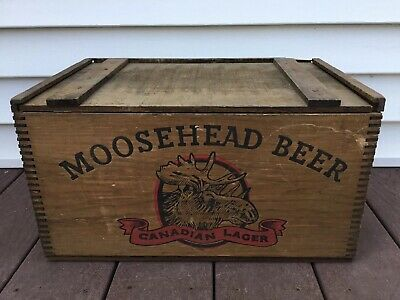 Vintage Moosehead Beer Bottle Canadian Lager Wooden Crate Dovetailed Brewery Box