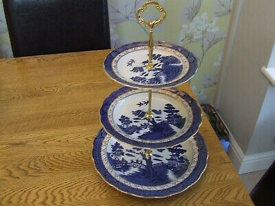Royal Doulton Booths REAL OLD WILLOW three tier cake stand