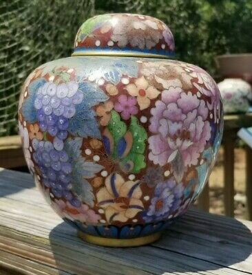 Fine Antique Chinese Cloisonne Flower Butterfly Lidded Jar Tea Caddy Vase
