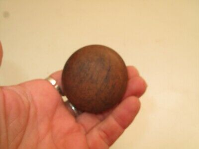 "Antique Country Pine Oak Wood Drawer Pull Knob  2"" D 19Th C Vtg Screw Peg Back"
