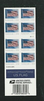 2019 #5345a U.S. Flag Pane of 20 from Banknote Printing with 5345 MNH