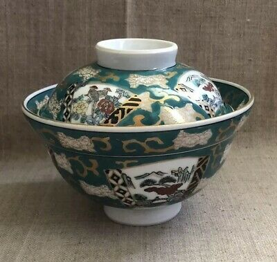Gold Imari Arita Japan Hand Painted Green Porcelain Lidded Rice Bowl Pheasants