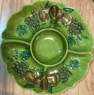California Usa Pottery Relish Divided Large Serving Dish Fruit Pattern  #2013
