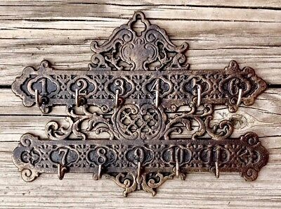 Cast Iron Vintage Numerical Hotel Key Rack Holder