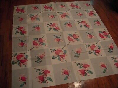 """Vintage Wilendur Pink Magnolia 1940's -1950's Kitchen Tablecloth : 50"""" by 54"""""""