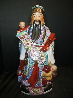 """Vintage Chinese Famille Rose Statue Figurine Man With Children 18 1/2"""" Tall"""