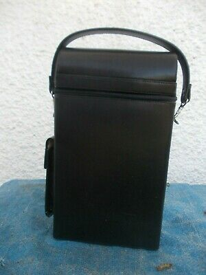 Black Leather & Pigskin Suede Lined Zip Up Double Wine Carrier-Bnwot