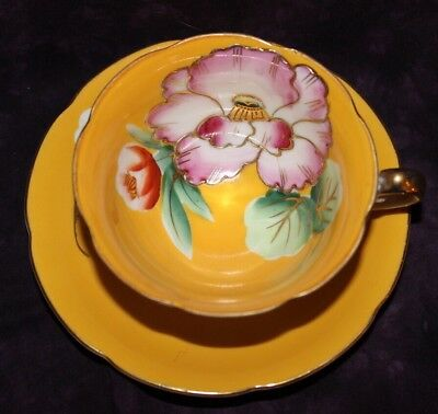 Princess Occupied Japan Handpainted HUGE Flowers Cup And Saucer 1# Quality
