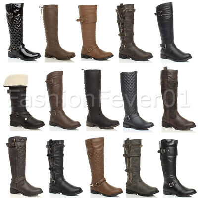 Womens Ladies Low Heel Flat Zip Buckle Quilted Riding Winter Calf Boots Size