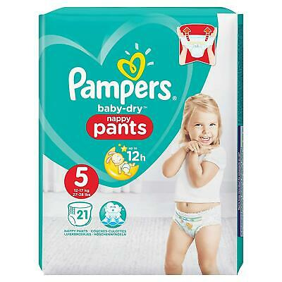 Pampers Baby-Dry Nappy Pants Disposable Cotton Nappies - Size 5 - Travel 21 Pack