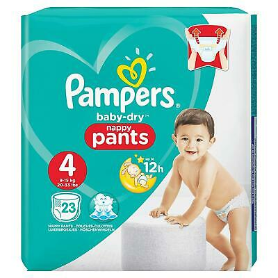 Pampers Baby-Dry Nappy Pants Disposable Cotton Nappies - Size 4 - Travel 23 Pack