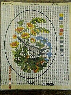 ~BN ANCHOR TAPESTRY CANVAS No. 9201 - BIRD WITH FLOWERS - UNUSED~