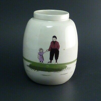 Antique/Vtg Holland / Dutch Stem Ginger Crock Jar Vase Hand Painted Scenes 4½""