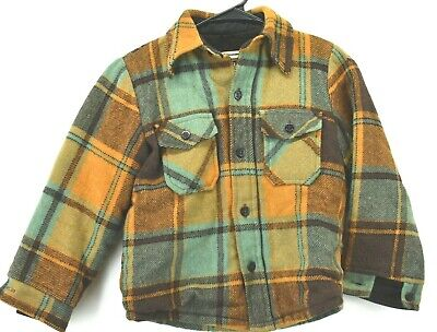 Vintage Sears Youth Boys Size 10 1960's 70s Wool Button Up Plaid Jacket Damage