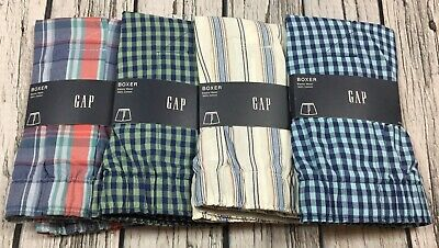 Gap Men X-Large (38-40) Lot Of 4 Boxers. Blue Green Plaid & Stripes Boxers. Nwt