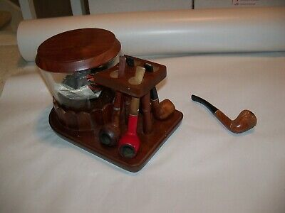 Lot Vintage Fairfax Wood Pipe Stand W/ Glass Tobacco Humidor & 5 Pipes