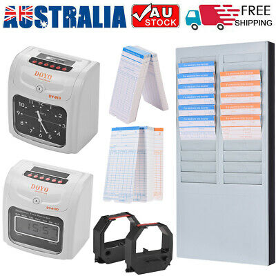 AU Electronic Employee Time Attendance Bundy Time Clock Recorder Time Cards Rack
