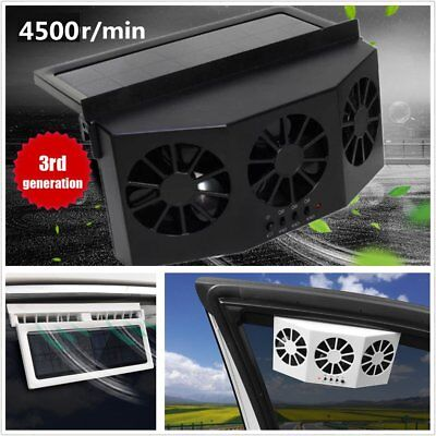 Car Window Windshield Solar Power Air Vent Cool Exhaust Dual Fan System Cooler A