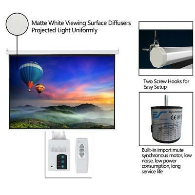 """100"""" 4:3 Material Electric Motorized indoor Projector Screen +Remote 80"""" x 60""""US"""