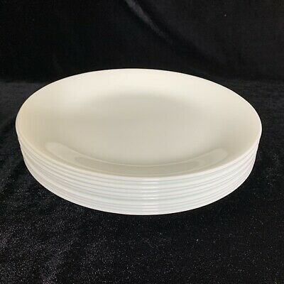 Set of 10 Corning Corelle 8 1/2 inch Luncheon Lunch Plates Winter Frost White