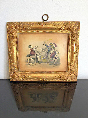 Rare Vintage Borghese Gold Gilt Ornate Plaster Picture And Frame Kids Playing