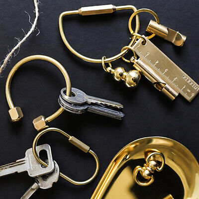 Buckles Whistle Ruler Pendant Jewelry Accessories Key Ring Brass Keychain